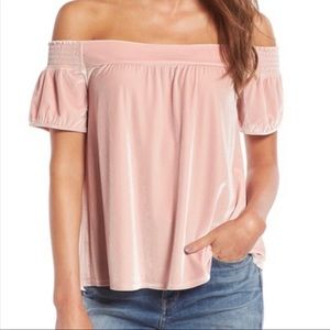 Hinge Velvet Light Pink off the Shoulders Top